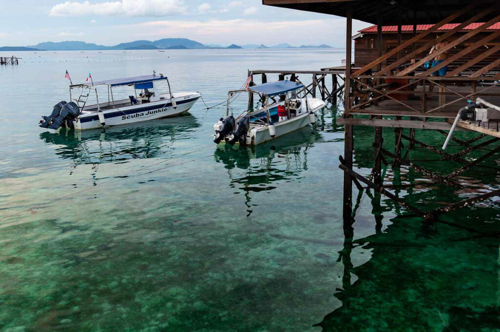 The transparent waters of Mabul, a very popular yet stunning Borneo island