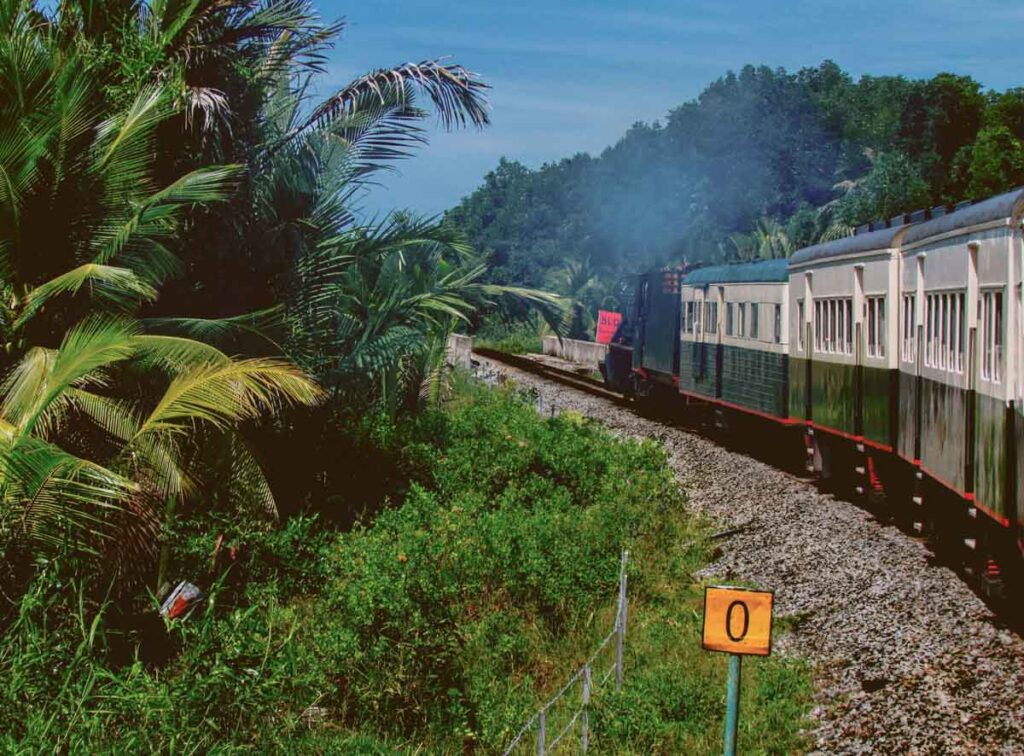 North Borneo railway carriage going in the jungle