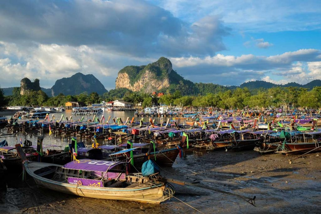 Photographing Thailand boats in Krabi beach