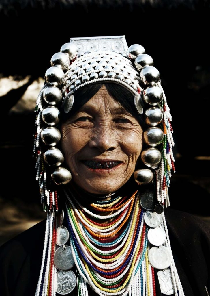 Hill tribe woman with silver headdress in Thailand