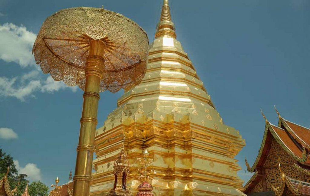 View of the chedi stupa at Wat Phra That Doi Suthep in Chiang Mai