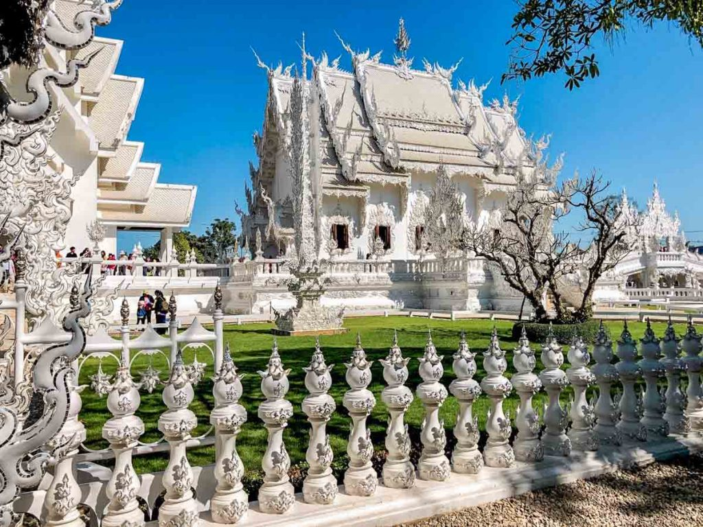 Chiang Mai's white temple view from the side